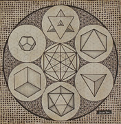 Sacred Geometry Drawings Posters - Platonic Solids Poster by Johana Toro