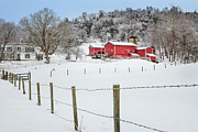 New England Snow Scene Prints - Platt Farm Print by Bill  Wakeley