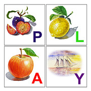 Letter Art Posters - PLAY Art Alphabet for Kids Room Poster by Irina Sztukowski