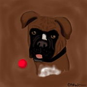 Boxer Digital Art - Play Ball by Christina Kulzer