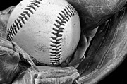 Baseball Macros Photo Metal Prints - Play Ball Metal Print by Don Schwartz