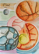 Basketball Paintings - Play Ball by Elaine Duras