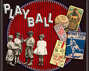 Baseball Game Mixed Media - Play Ball by Karen  Burns