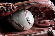 Baseball Seam Photo Metal Prints - Play Ball Metal Print by Peggy J Hughes