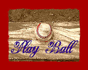 Pro Baseball Posters - Play Ball Poster by Tina Meador