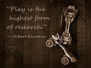 Albert Einstein Framed Prints - Play is the highest form of research. Albert Einstein  Framed Print by Edward Fielding