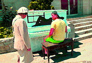 Montreal Streets Paintings - Play Me A Song Piano Man Play Me A Memory Montreal Street Musicians City Scenes Carole Spandau by Carole Spandau