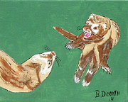Ferrets Prints - Play Time Print by Brian Dearth