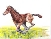 Horse Paintings - Play Time by Callie Smith