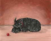Scottish Terrier Paintings - Play With Me by Margaryta Yermolayeva
