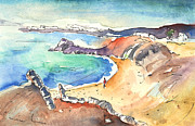 Atlantic Beaches Drawings Prints - Playa Blanca in Lanzarote 01 Print by Miki De Goodaboom