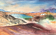 Atlantic Beaches Drawings Prints - Playa Blanca in Lanzarote 02 Print by Miki De Goodaboom