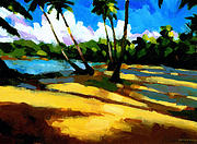 Tropical Trees Paintings - Playa Bonita 2 by Douglas Simonson