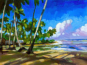 Tropical Trees Paintings - Playa Bonita by Douglas Simonson