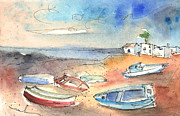 Atlantic Beaches Drawings Posters - Playa Honda in Lanzarote 02 Poster by Miki De Goodaboom