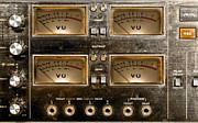 Gunter Nezhoda Metal Prints - Playback recording VU Meters Grunge Metal Print by Gunter Nezhoda