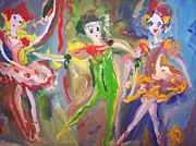 Ballet Dancers Paintings - Playful ballet trio by Judith Desrosiers