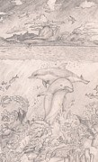 Ocean Mammals Originals - Playful Dolphins under the water by Laurie Pike