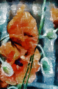 Loose Mixed Media - Playful Poppies 6 by Angelina Vick