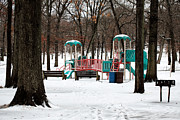 Country In Winter Prints - Playground in Winter Print by John Rizzuto