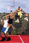 Streetball Painting Posters - Playground Poster by Roger  James