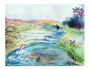 Fly Fisherman Paintings - Playin Hooky by C Sitton