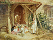 Education Painting Metal Prints - Playing at Schools Metal Print by Charles James Lewis