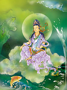 Guan Yin Prints - Playing Avalokitesvara  Print by Lanjee Chee