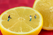 Baseball Close Up Framed Prints - Playing baseball on lemon Framed Print by Paul Ge
