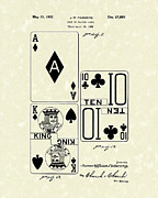 Playing Cards Framed Prints - Playing Cards 1869 Patent Art Framed Print by Prior Art Design