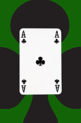 Casino Digital Art - Playing Cards Ace of Clubs on Green Background by Natalie Kinnear