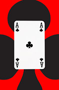 Casino Digital Art - Playing Cards Ace of Clubs on Red Background by Natalie Kinnear