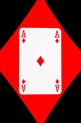 Playing Digital Art - Playing Cards Ace of Diamonds on Black Background by Natalie Kinnear
