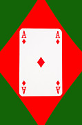 Casino Digital Art - Playing Cards Ace of Diamonds on Green Background by Natalie Kinnear