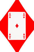 Playing Digital Art - Playing Cards Ace of Diamonds on White Background by Natalie Kinnear