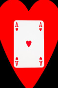 Casino Digital Art - Playing Cards Ace of Hearts on Black Background by Natalie Kinnear
