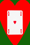 Casino Digital Art - Playing Cards Ace of Hearts on Green Background by Natalie Kinnear
