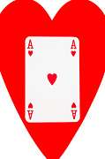 Playing Digital Art - Playing Cards Ace of Hearts on White Background by Natalie Kinnear