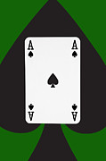 Playing Digital Art - Playing Cards Ace of Spades on Green Background by Natalie Kinnear