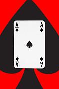 Illustrative Digital Art Prints - Playing Cards Ace of Spades on Red Background Print by Natalie Kinnear