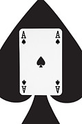 Playing Digital Art - Playing Cards Ace of Spades on White Background by Natalie Kinnear
