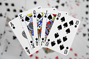Ace Of Spades Framed Prints - Playing Cards - Royal Flush Framed Print by Natalie Kinnear