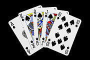 Natalie Kinnear Prints - Playing Cards Royal Flush on Black Background Print by Natalie Kinnear