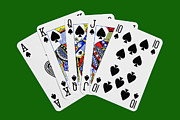 Game Digital Art Framed Prints - Playing Cards Royal Flush on Green Background Framed Print by Natalie Kinnear