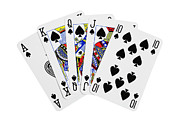 Ace Of Spades Framed Prints - Playing Cards Royal Flush on White Background Framed Print by Natalie Kinnear