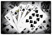 Ace Of Spades Framed Prints - Playing Cards Royal Flush with Digital Border and Effects Framed Print by Natalie Kinnear
