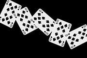 Playing Digital Art - Playing Cards Ten of Spades on Black Background by Natalie Kinnear