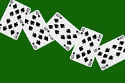 Playing Digital Art - Playing Cards Ten of Spades on Green Background by Natalie Kinnear
