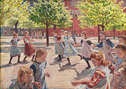 Famous Artists - Playing Children. Enghave Square by Peter Hansen