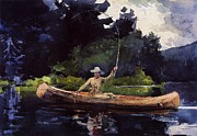 Canoe Painting Posters - Playing Him Poster by Pg Reproductions